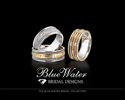 The Blue Water Bridal Collection is hand-crafted right here in our store. There are several styles available, from intricate Victorian designs to modern fashions, or we can start from scratch and create anything your heart desires. Settings are available in 14K or 18K in white, yellow or rose gold, or two-tone. Please visit us today and let us create a jewelry design that you will cherish forever.