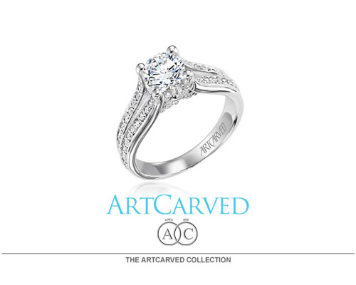 ArtCarved designs are available in nature's most precious metals: Platinum, Palladium White and Yellow gold; as well as contemporary metals: Titanium and Tungsten Carbide. This broad selection ensures that couples can choose rings that reflect not only their enduring love and commitment, but also their personalities and spirit.