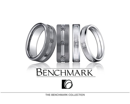 "For 40 years, Benchmark has dedicated much focus and attention to making elegant rings in platinum, palladium and white/yellow gold.  They precision set and die-strike all their diamond bands and have recently included titanium, seranite and licensed tungsten in their new ""Forge"" line of alternative metals. Set your love in stone today."