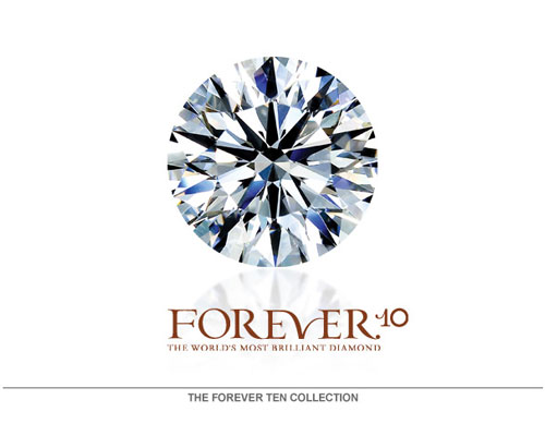 The FOREVER10 has 10 perfect hearts and 10 perfect arrows, revealed when every single facet is precisely crafted and aligned. To keep the Forever10's Hearts & Arrows effect, all 10 facets must be of EXACTLY the same size. Other ideal cut diamonds are ordinary with eight hearts and arrows. The polish and symmetry of the Forever10 are of the highest grades. The Ideal Cut of the F-10 guarantees it has a beautiful spread, appearing (face up) larger than other cuts. A diamond cut to the rigid standards of the Forever10 is truly a gem of ultimate beauty, admiration and desire far surpassin...