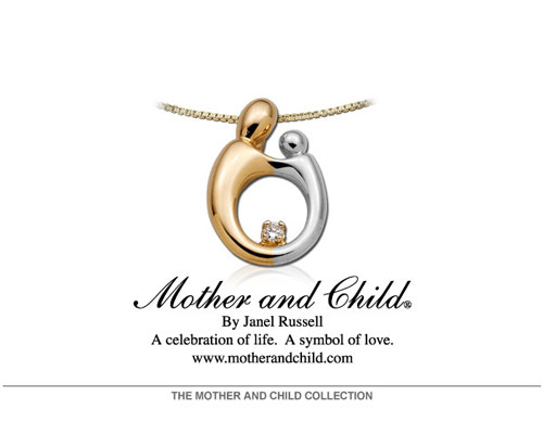 Designed from the heart and hands of Janel Russell, the heart shaped jewelry line is an elegant evolution of Janel's original Mother and Child design. The design embodies a Mother and Child emerging from a heart symbolizing the love that binds them together for eternity. The Mother and Child Heart Collection includes pendants, earrings, lockets, rings, charms and bracelets in 14-karat gold.