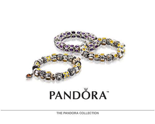 PANDORA is a universe of jewelry. Each piece of Danish design is handcrafted in sterling silver or 14K gold.  Many pieces incorporate pearls, semi-precious and precious stones.  PANDORA's modular design allows the wearer to change the beads for an elegant look, or change the bracelet for a casual wear at a moment's notice.  PANDORA also offers a whole collection of earrings, rings, and necklaces that coordinate with the most popular bead designs. Create your own PANDORA wish list and make your own bracelet online by visiting www.Pandora-Jewelry.com. U.S. Pat. No.7,007,507.